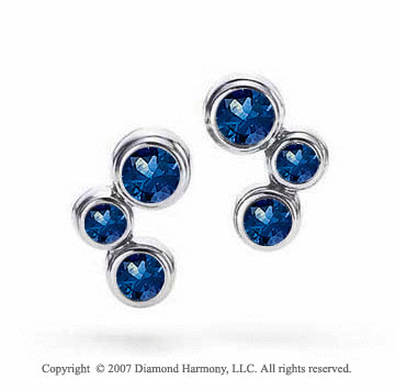 14k White Gold Bubble Blue Sapphire Earrings