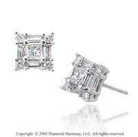 14k White Gold Push Back 3/4 Carat Diamond Button Earrings