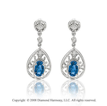 14k White Gold Blue Sapphire Diamond Drop Earrings