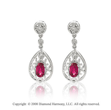 14k White Gold Filigree Ruby Diamond Drop Earrings