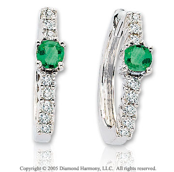 14k White Gold Emerald 1/3  Carat Diamond Huggie Earrings