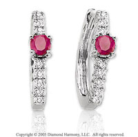 14k White Gold Ruby 1/3  Carat Diamond Huggie Earrings
