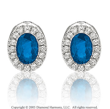 14k White Gold Blue Sapphire Diamond Button Earrings