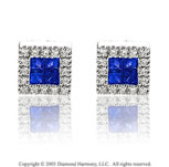 14k White Gold Princess Sapphire Diamond Button Earrings
