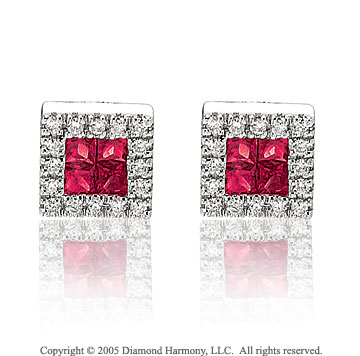 14k White Gold Ruby 1/4 Carat Diamond Button Earrings