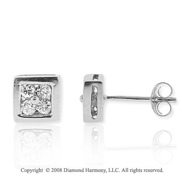 1/3 Carat Diamond 14k White Gold Square Stud Earrings