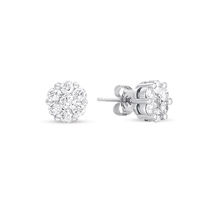 14kt White Gold 1/4 Carat Diamond Cluster Earrings