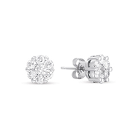 14kt White Gold 3/4 Carat Diamond Cluster Earrings