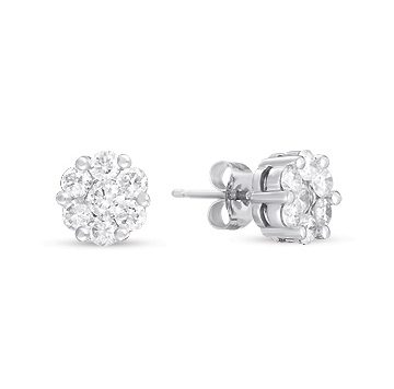 14kt White Gold 1 Carat Diamond Cluster Earrings