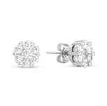 14kt White Gold 1 1/4 Carat Diamond Cluster Earrings