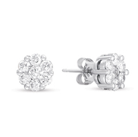 14kt White Gold 1 1/2 Carat Diamond Cluster Earrings