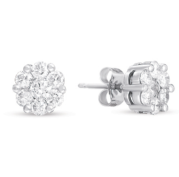 14kt White Gold 1 3/4 Carat Diamond Cluster Earrings