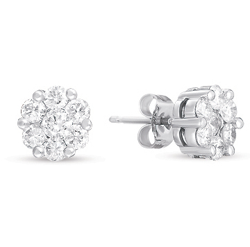 14kt White Gold 2 Carat Diamond Cluster Earrings