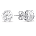 14kt White Gold 3 Carat Diamond Cluster Earrings