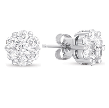 14kt White Gold 4 Carat Diamond Cluster Earrings