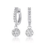 14kt White Gold 3/4 Carat Drop Diamond Cluster Earrings