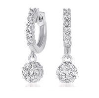 14kt White Gold 1 Carat Drop Diamond Cluster Earrings