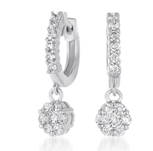 14kt White Gold 1 1/2 Carat Drop Diamond Cluster Earrings