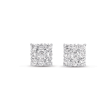 14kt White Gold 1/4 Carat Square Diamond Cluster Earrings