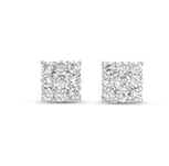 14kt White Gold 1/2 Carat Square Diamond Cluster Earrings