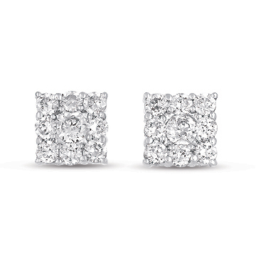 14kt White Gold 1 Carat Square Diamond Cluster Earrings