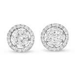 14kt White Gold 1 Carat Halo Diamond Cluster Earrings