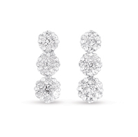 14kt White Gold 1 Carat Three Stone Diamond Cluster Earrings