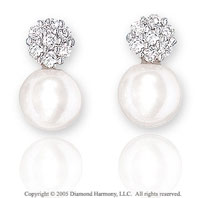14k White Gold Diamond Fresh Water Pearl Drop Earrings