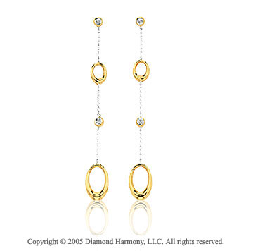 14k Two Tone Gold Oval Stiletto Diamond Drop Earrings