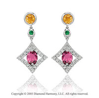 14k White Gold Multi Gemstone Diamond Drop Earrings