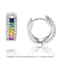 14k White Gold Rainbow Gem Diamond Huggie Earrings