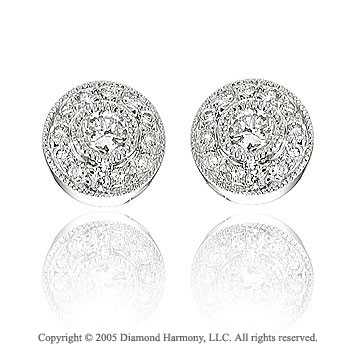 14k White Gold Round 1/3 Carat Diamond Button Earrings