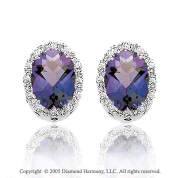 14k White Gold Oval Amethyst Diamond Button Earrings
