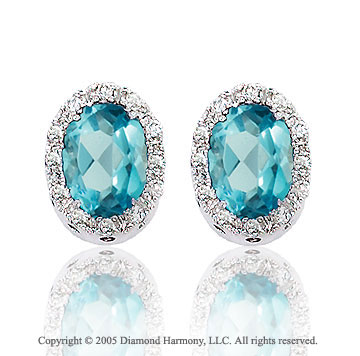14k White Gold Oval Blue Topaz Diamond Button Earrings