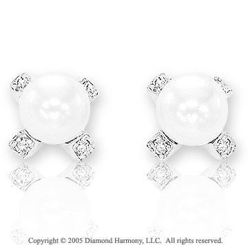 14k White Gold Fresh Water Pearl Diamond Button Earrings