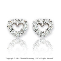 14k White Gold Open Heart 2/5 Carat Diamond Button Earrings