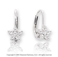 14k White Gold Star 1/4  Carat Diamond Drop Earrings