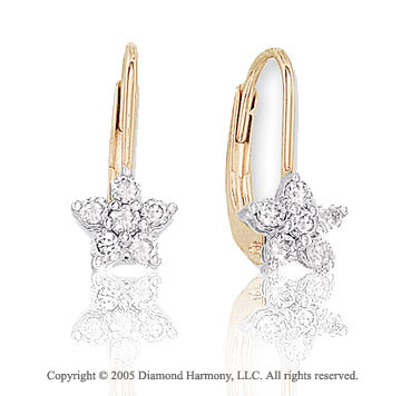 14k Two Tone Gold Star 1/4  Carat Diamond Drop Earrings