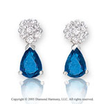 14k White Gold Blue Sapphire 0.2  Carat Diamond Drop Earrings