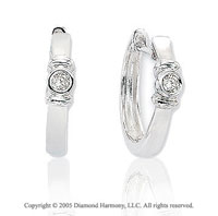 14k White Gold Bezel .12  Carat Diamond Huggie Earrings