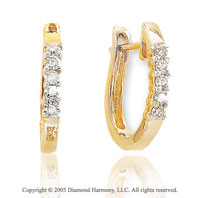 14k Yellow Gold 5/8 In .25  Carat Diamond Huggie Earrings