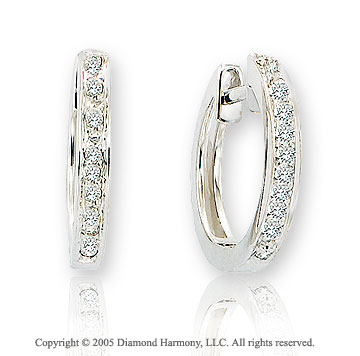 14k White Gold 1/2 In .15  Carat Diamond Huggie Earrings