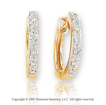 14k Yellow Gold 1/2 In .15  Carat Diamond Huggie Earrings