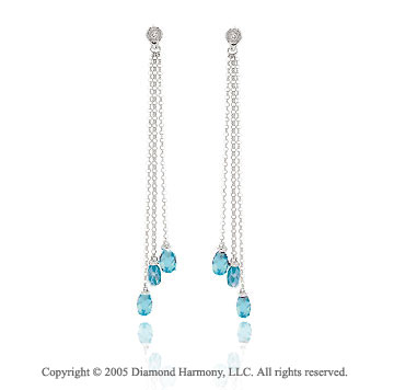 14k White Gold Blue Topaz Bezel Diamond Drop Earrings