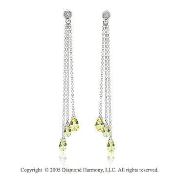 14k White Gold 1 3/4 In Peridot Diamond Drop Earrings
