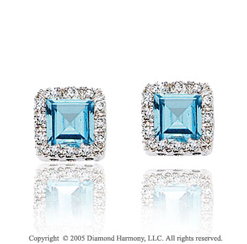 14k White Gold Blue Topaz 1/6 Carat Diamond Button Earrings