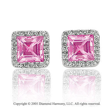 14k White Gold Pink CZ 1/6 Carat Diamond Button Earrings