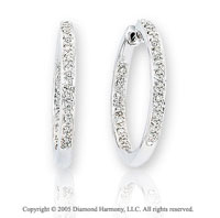 14k White Gold Double Side 1/3  Carat Diamond Hoop Earrings
