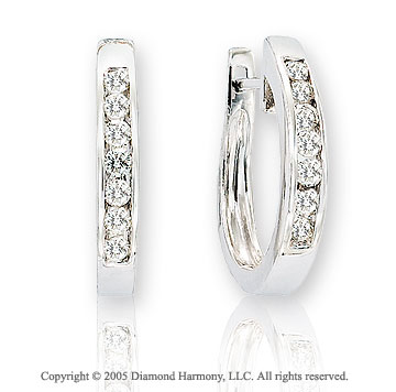 Diamond 14k Channel Classic Huggie Earrings