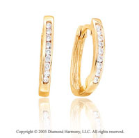 .20  Carat Diamond Channel 14k Yellow Gold Huggie Earrings
